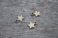 Wholesale 100pcs bronze tone Star Charms Pendant Antiqued Silver mm
