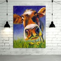 arts cow - 100 Handpainted Oil Painting Canvas Adorable Cow Wall Art Modern Abstract Animal Art Picture on Canvas Home Decor No Frame