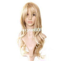 Wholesale Cool2day Sand Strawberry Blonde Long Softly Waved Wig Charming Curly Costume Wig Hair JF010757