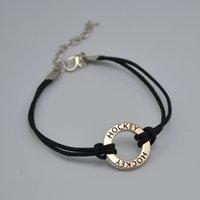 De haute qualité 50pcs un connecteur de nombreux anneau creux dangle initial double HOCKEY charmes cire cordon bracelets