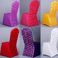 Wholesale 2015 Spandex Colorful Wedding Chair Sashes Chair Cover For Wedding Party Rose Flower Handmade Accessories Decorations For Sale
