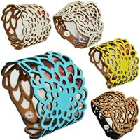 Wholesale 2015 New Fashion Women Filigree Hollow Leather Flower Printed Lady Bracelet Wide Button Closure Adjustable Girl Jewelry