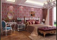 Wholesale Euroart Damask Luxury Velvet D Flocking Embossed Non Woven Wallpaper Living Room Bedroom Background Papel De Parede Wall Paper