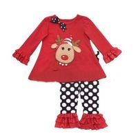 Wholesale Pajamas New Children spring autumn Sets Shirt Suit Christmas clothes baby girls Clothing sets shirt pants