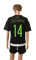 Wholesale 15 Customized Mexico Home Chicharito Black Jersey With Shorts Cheap Mexico Jersey Sets Jerseys Unform Discount Cheap Soccer Jerseys