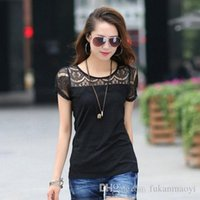 v neck tee shirts - Drop Ship Promotion New Fashion Lace Carved Patchwork Lady CVC T shirt Lady Tops Plus Size M XL Women Slim Tees BS04031
