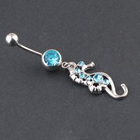 bell transparencies - Min Order Transparency Drill Sea Horse Shape Navel Stud Green Blue Pc
