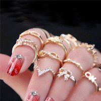 Wholesale 2016 New Set Women s Rhinestone Bowknot Knuckle Midi Mid Finger Tip Stacking Rings P