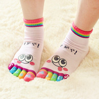 Wholesale 500pair Cute Candy Contrast Color Cotton Socks Creative Cute Cartoon Expression Five Fingers Socks Pink
