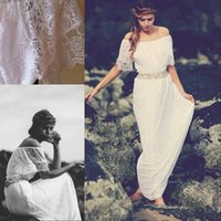Wholesale Gypsy Boho White Lace Wedding Dresses Off Shoulder Modern Cheap Bride Gowns With Sleeves Custom Bridal Gowns Plus Size