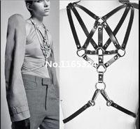 Cheap Wholesale-Fashion Sexy O Round Leather Harness Corset 100% Handmade Chest Body Bondage Cage Waist Belt wholesale