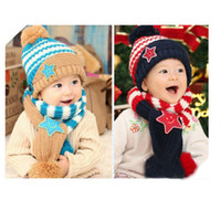 Wholesale Baby Girls Kids Boys Smile Stars Striped Hat Scarf Set Acrylic Ear Cap Y For
