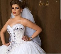 arabian dress designs - Arabian Design Sweetheart Crystal Bling Bling Wedding Dresses Puffy Ball Gown Beading Lace Wedding Dress