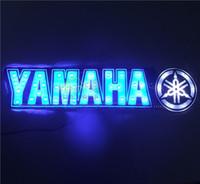 Wholesale 21 cm cm Self Adhesive LED light sticker D Flame sticker for Monster yamaha Honda with LED light Badge Emblem led stickers