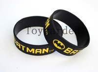 batman memorabilia - 100PCS Printed Batman Logo Wristband BATMAN Silicon Bracelet Movie Memorabilia Wristband Black Adult