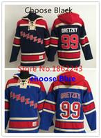 venda por atacado camisa do homem de fábrica-Factory Outlet, New York Rangers hoodie da camisola nº 99 Wayne Gretzky Hoodie Navy Jersey Blue / Hóquei Jersey NY Rangers camisa dos homens azuis