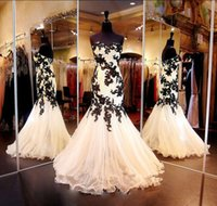 attractive games - Love Fashion Black And White Lace Appliques Puffy Tulle Mermaid Prom Dresses attractive Game Charming Women Long Maxi Dress