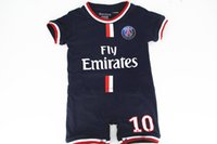 baby headbands sizes - Bebe Romper cotton New style Newborn Baby boy clothes onesie Jumpsuit Ibrahimovic PSG soccer babysuit for M Free Shippment