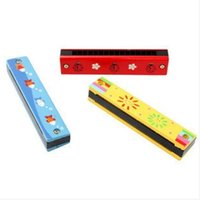 Wholesale Orff instruments harmonica children colored wooden hole play musical nursery toys years