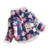 Wholesale 2015 girls warm coat baby winter long sleeve flower jacket children cotton padded clothes kids christmas outwear a