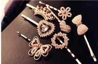 Wholesale New Women Pearl Alloy Hair Clips Rhinestone Bow Floral Heart Crown Hair Pin Girl s Fashion Hair Accessories