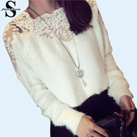 Wholesale Sexy Lady Lace Paneled Mohair Sweater Long Sleeve Shaggy Pollover Knitwear Autumn White Black Sweaters Blouse MTE1026