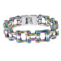 ankle bracelet length - 225MM Length MM Wide Corlorful Stainless Steel Biker Chain Bracelet Men Cool Vintage Men s Ankle Bracelets Best Friends