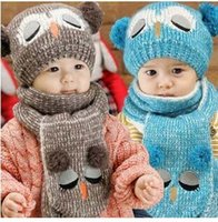 Wholesale Pretty Winter Kids Knitted Cap New Owl Design Children s Hat Scarf Two Pieces Colors