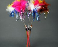 Wholesale cat fishing pole style cat teaser toy cat toys with bell and feather