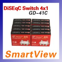 Wholesale 10pcs Genuine Gecen GD C x Satellite DiSEqC Switch for FTA DVB S2 receivers with high quality Post