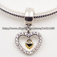 real silver jewelry - 925 Sterling Silver K Real Gold Forever in My Heart Dangle Charm Bead with Cz Fits European Pandora Jewelry Bracelets Necklaces