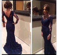 prom dresses with sleeves - 2015 New Sexy Navy Blue Lace Evening Dresses Mermaid V Neck Prom Dresses With Appliques V Back Long Sleeve Party Dresses