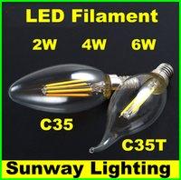 Wholesale 2W W W LED Filament Bulbs Dimmable E27 E14 E12 LED Filament candle Bulb Warm Cool White V V