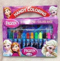 Wholesale 12pcs set new colors frozen anna elsa cute water color pen office school supplies set colour book