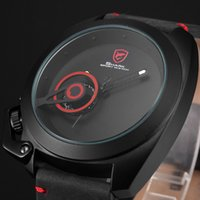 analog digital systems - Shark Black Leather Strap Red Logo Solar System Japan Movement Crazy Horse Luminescent markers Mens Quartz Watch SH446