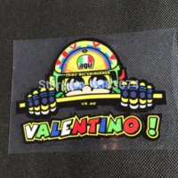 Wholesale aterproof valentino rossi Reflective stickers motorbike rearview mirror helmet Front Windshield mirror pentagon sticker address stic
