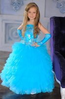 Wholesale Cute Sky Blue Spaghetti Straps Tulle Flower Girl Dresses A Line Cheap Tiered Sexy Ball Gown Long Little Girls Dresses For Pageant Party