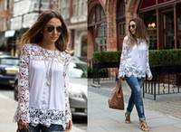 Wholesale Women Blusas Chiffon Tops Stylish Round Neck Long Sleeve Spliced Hollow Out Blouse For Women