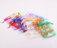 Wholesale 9x12cm Christmas Butterfly Bag Wedding Drawstring Voile Gift Packaging Jewelry Organza Bag Pouch FEAL BG04