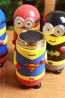 america flask - New mL avengers Minions Captain America Spidermanstainless steel Mugs minions cup children flask vacuum thermos cup minions cartoon flask