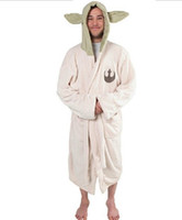 Wholesale 2016 new fashion Star Wars Yoda Sleepwear Adult bathrobe cartoon Coral fleece home dress