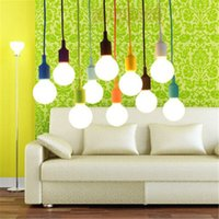 Wholesale American hot sales for indoor bright blub light sportlight function Customize Rope Cone Silicon Bulb Shade Canopy Hanging Light Pendant Lamp