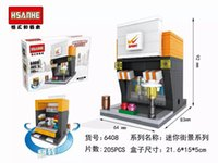 auction stores - HSANHE Micro Blocks Street Mini Store Blocks Small Shop D DIY Building Bricks Juguetes Mini Auction Figures Kids Gift