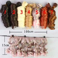 Wholesale 15 cm piece heat resistant blond brown falxen golden dark black curl wave SD wig hair for BJD doll wig