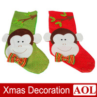 big gift shop - New cm Big Size Monkey Pattern Christmas stocking Christmas decorations Christmas stockings Christmas gift bags for Bar Club Shop Party