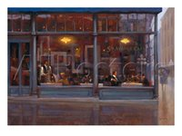avenues hand painted - Abstract oil painting custom size Fifth Avenue Cafe Right hand painted on linen