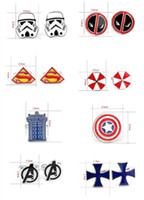 Wholesale 300pcs fashion designs star Wars Cufflinks Cuff Links Cartoon Captain America spiderman avengers Novelty Cufflinks Cuff Links D528