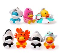 Cheap 7PCS lot Fashion floating Rubber Ducks 5cm Ocean Series keychain phone rope PVC Action Figures Classic Toys gift for children