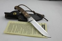 Wholesale Outdoor Hunting Fishing Fixed Blade Knife with Real Leather Sheath Survival Tool Straight knife Hand Tool