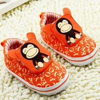 Cheap Sunshine orange baby infant toddler shoes Baby monkey print soft